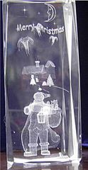 AIE LASER ENGRAVED CRYSTAL SANTA MERRY CHRISTMAS