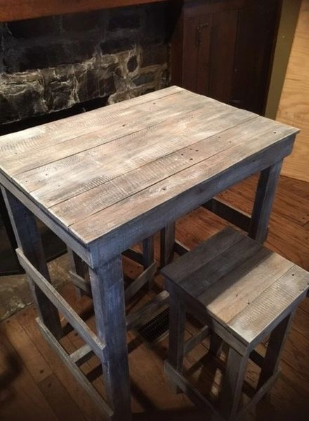 SOLD Pub Table Distressed Wood Coastal Pc Peddlers Mill - Distressed wood pub table