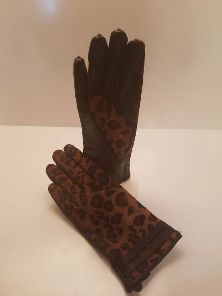 Brown Leapord Pony Hair Gloves (AT48BRG)