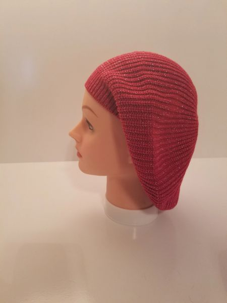 Knit Snood-Red with Silver Streaks (AT21RDU)