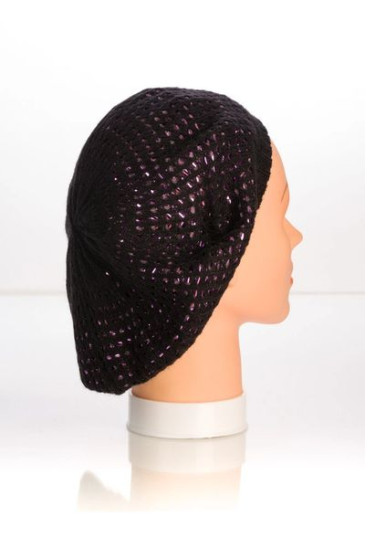 Metallic Knit Snood-Black with Pink Lining (AT10BPL)