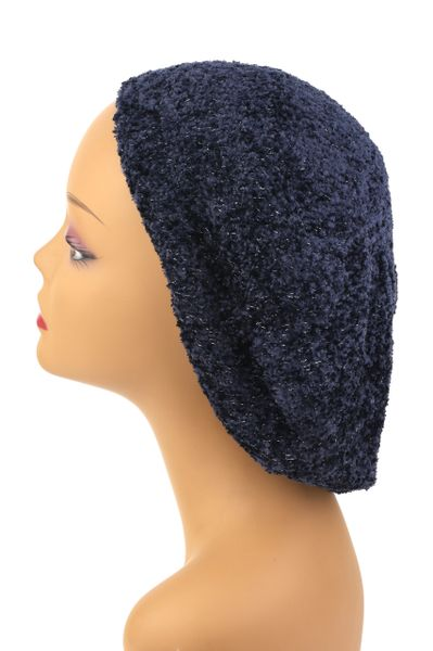Chenille Snood Navy and Silver Lurex - Lined(AT01NSL)
