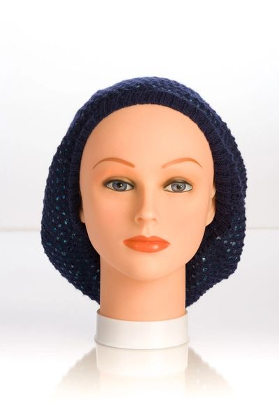 Metallic Knit Snood-Navy with Teal Lining (AT10NTL)