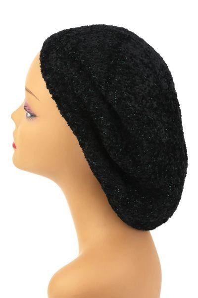 Chenille Snood Black and Teal Lurex - Lined(AT01BTL)