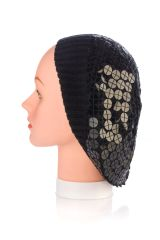 Large Sewn Down Sequin Knit Snood-Black (AT31BKU)