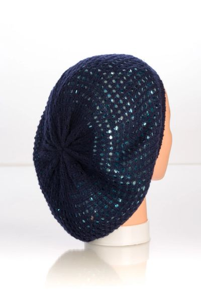 Metallic Knit Snood-Navy with Blue Lining (AT10NBL)