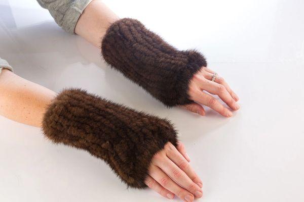 Mink Fur Hand Warmer-Brown (AT53BRW)