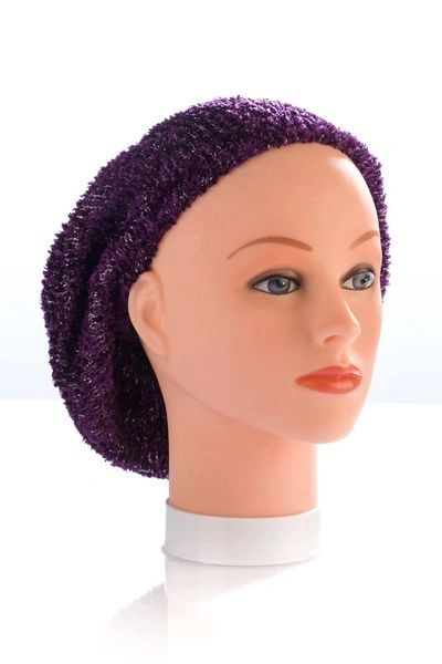 Chenille Snood Plum and Silver Lurex - Unlined(AT01PLU)