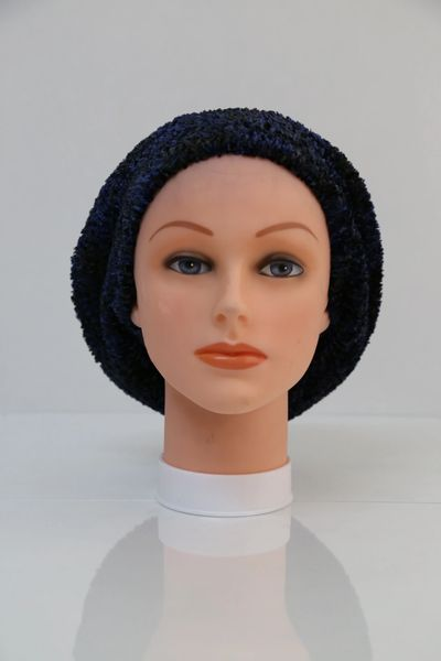 Chenille Shadow LINED Snood-Black & Navy (AT05BNL)