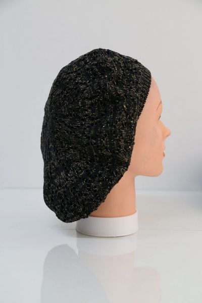 Lightweight Knit Snood-Black with Gold Streaks (AT22BKG)