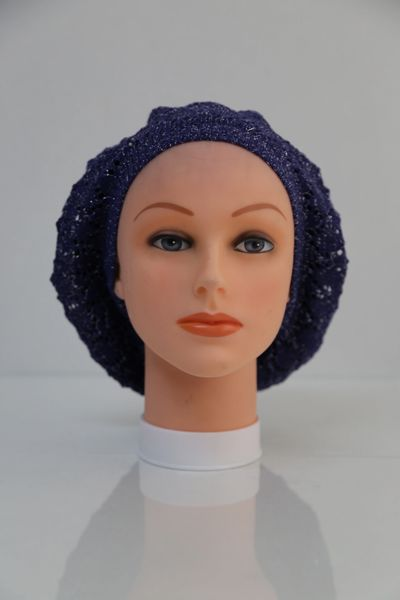 Lightweight Knit Navy Snood with Silver Streaks (AT22NVSL)