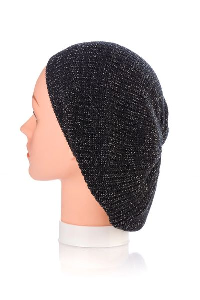 Knit Snood-Black with Silver Streaks (AT21BKU)