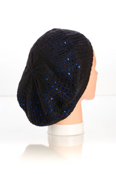 Metallic Knit Snood-Black with Blue Lining (AT10BBL)