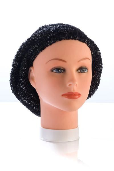Chenille Snood Black and Silver Lurex - Unlined(AT01BKU)