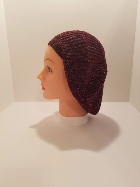 Knit Snood-Maroon with Silver Streaks (AT21MRU)