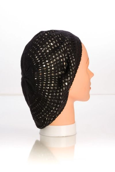 Metallic Knit Snood-Black with Silver Lining (AT10BSL)