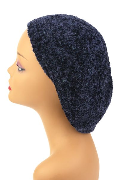 Chenille Snood Navy and Teal Lurex - Lined(AT01NTL)