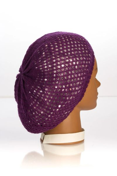 Metallic Knit Snood-Purple with Silver Lining (AT10PSL)