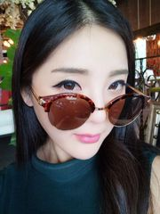Leopard Half Frame Proof UV Retro Sunglasses