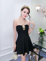 Off Shoulder Boat Neck Black Strapless Dress