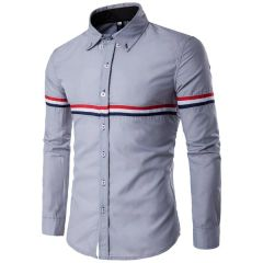 Korean Stripe Decorated Turndown Collar Men Shirt
