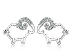 Korean Design Sheep Shape Silver Earrings