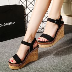 One-buckle Belt Wedge Sandals For Girls