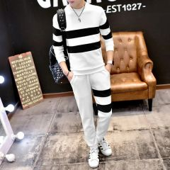 Cheap Stripe Pullover Hoodie String Long Pants