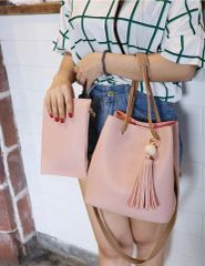 Korean Fringe Open 2pcs Tote Handle Bag