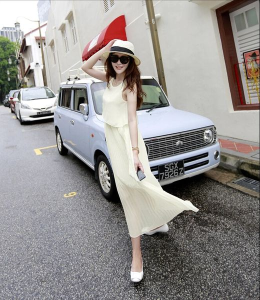 Hot Selling Summer Chiffon Dress Solid Color Fake Two Piece Sleeveless Round Collar Dress S M L Mid Waist Maxi Dress