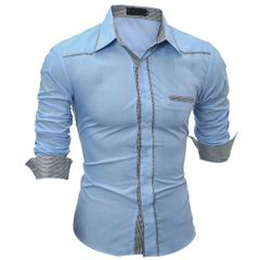 Contrast Color Trim Fashion Men Patchwork Shirt