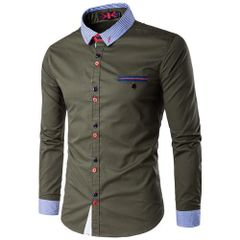 Chic Stripe Decorated Turndown Collar Men Shirt