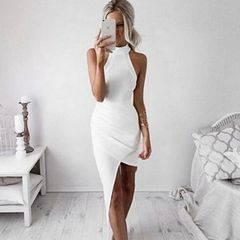 Off Shoulder O Neck Sexy White Dress