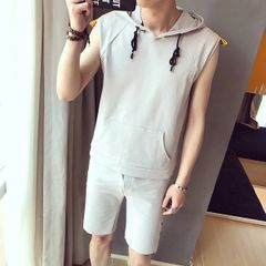 Print Letter Sleeveless Tee Pants Men Sport Suit