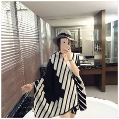 Korean New Stripe Fashion Celebrity Shawl
