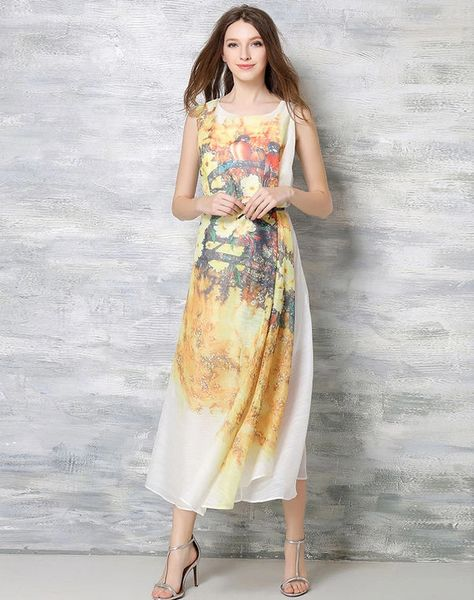 Hot Selling Women Sleeveless Printed New Dress