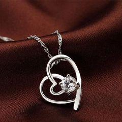 Heart-Shape Diamond Pure Silver Necklaces