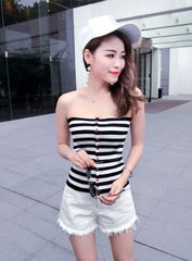 Off Shoulder Stripe Strapless Tank