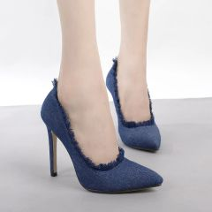 Euro Fashion Pointed Toe Denim Stiletto Women Pumps