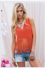 Backless Fringe Solid Tank Top