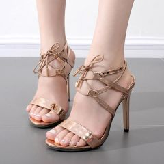 Stylish Bandage Open Toe Stiletto Sandals