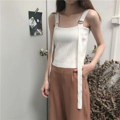 Korean Chic Design Versatile Straps Knit Tops
