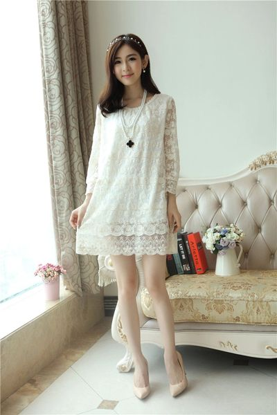 Spring Brand White Long Sleeve O Neck Lace Split Hollow Out Lining Korean Dress