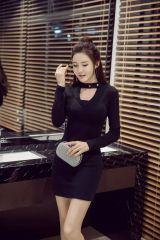 Japan V Neck Long Sleeve Sheath Dress