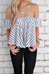 Euro Sexy Off Shoulder Striped Woman Blouse