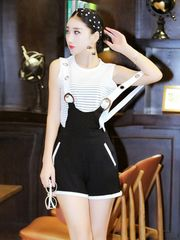 Stylish Striped Sleeveless Top With Overalls Suits