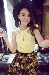 The Latest Design Yellow Halter High Quality Printed Women