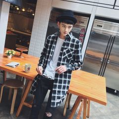 Korean Fashion Plaid Polo Neck Pocket Men Shirt