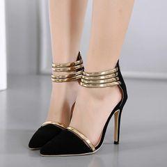 Stylish Metal Belt Pointed Stiletto Sandals