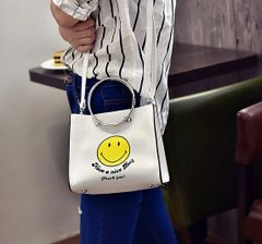 Korea Smile Print Hasp Handle Bag